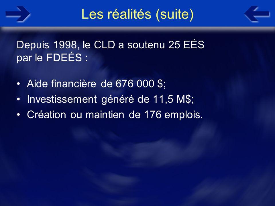 Les réalités (suite) Aide financière de 676 000 $; Investissement généré de 11,5 M$; Création ou maintien de 176 emplois. Depuis 1998, le CLD a souten