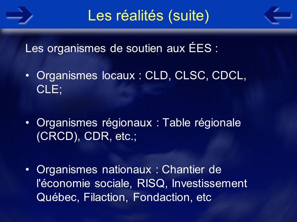 Les réalités (suite) Organismes locaux : CLD, CLSC, CDCL, CLE; Organismes régionaux : Table régionale (CRCD), CDR, etc.; Organismes nationaux : Chanti