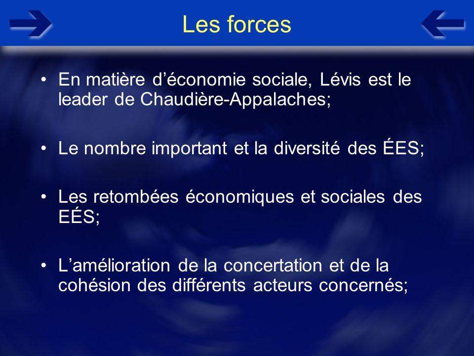 Les forces En matière déconomie sociale, Lévis est le leader de Chaudière-Appalaches; Le nombre important et la diversité des ÉES; Les retombées écono