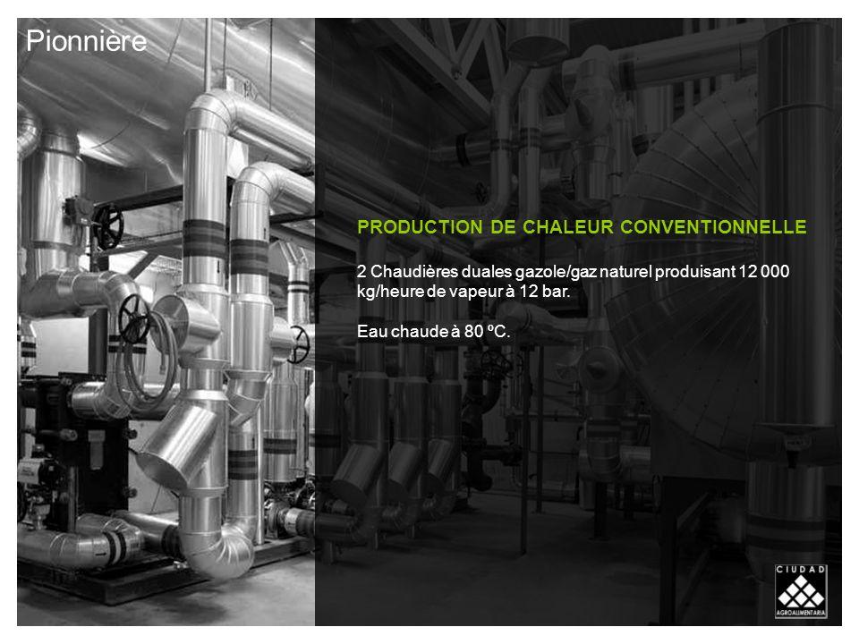 PRODUCTION DE CHALEUR CONVENTIONNELLE 2 Chaudières duales gazole/gaz naturel produisant 12 000 kg/heure de vapeur à 12 bar.