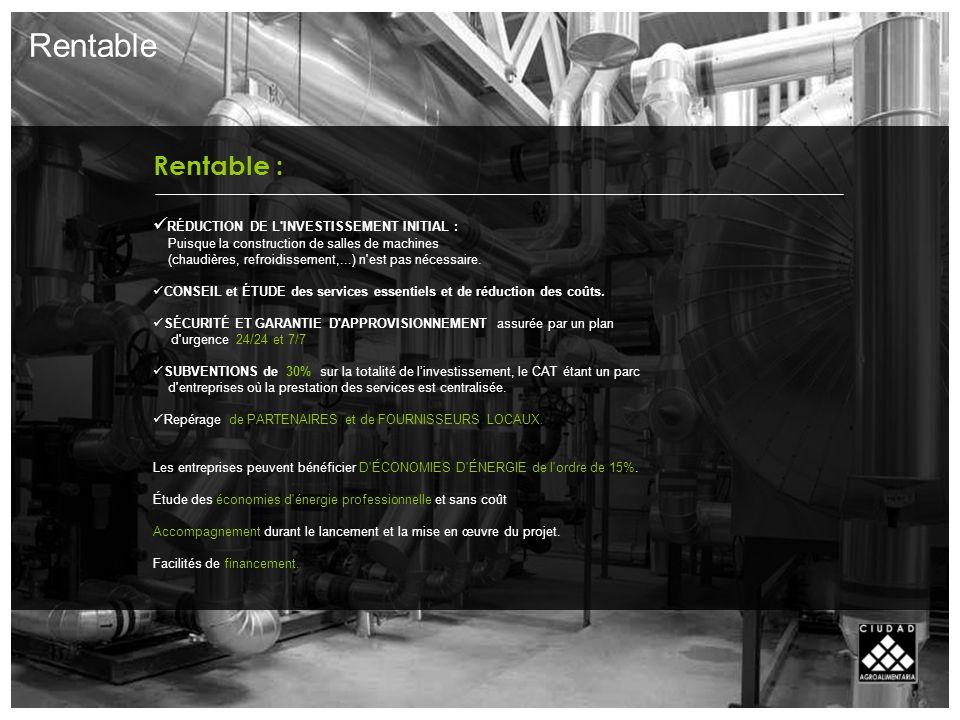Rentable : RÉDUCTION DE L INVESTISSEMENT INITIAL : Puisque la construction de salles de machines (chaudières, refroidissement,...) n est pas nécessaire.