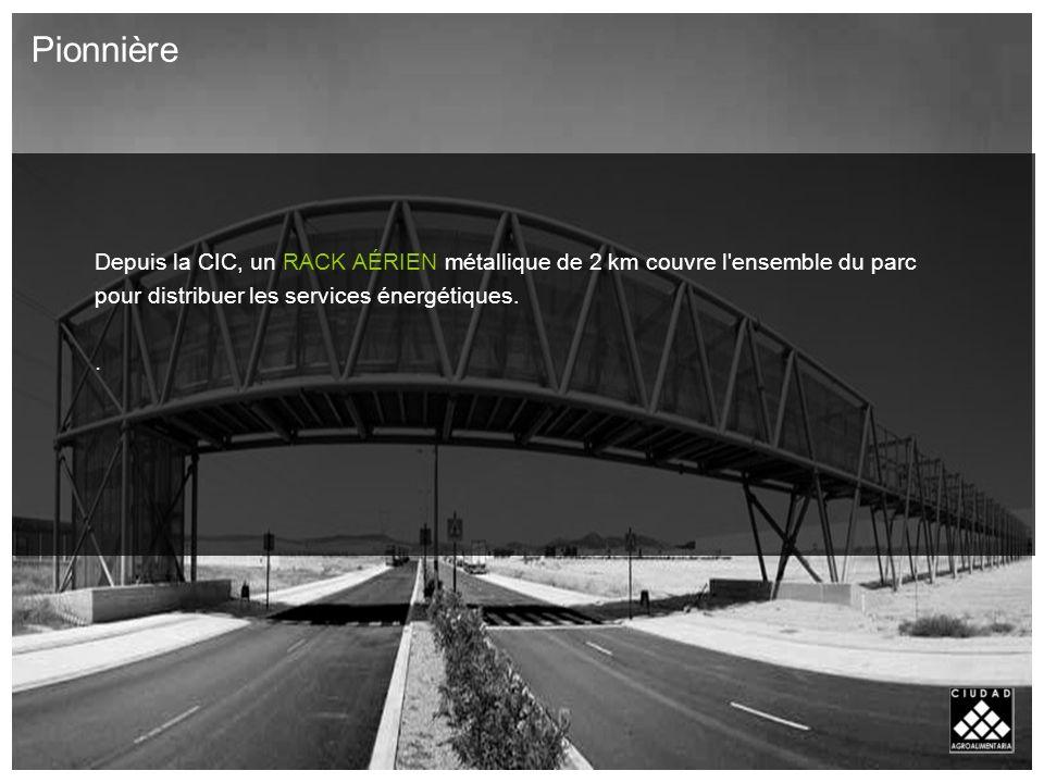 Depuis la CIC, un RACK AÉRIEN métallique de 2 km couvre l ensemble du parc pour distribuer les services énergétiques..