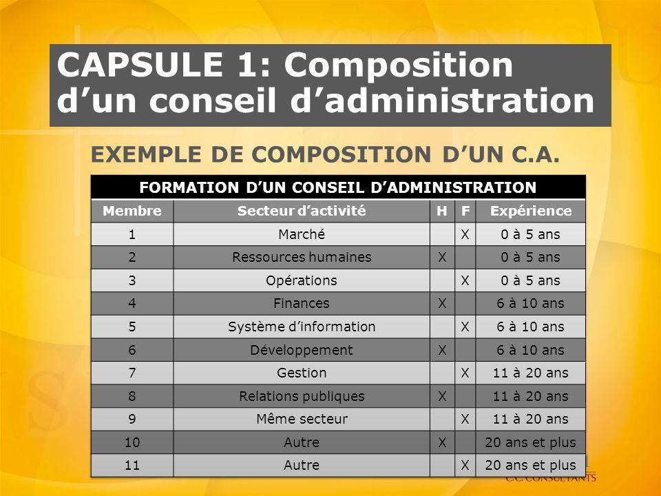 CAPSULE 1: Composition dun conseil dadministration EXEMPLE DE COMPOSITION DUN C.A. 11