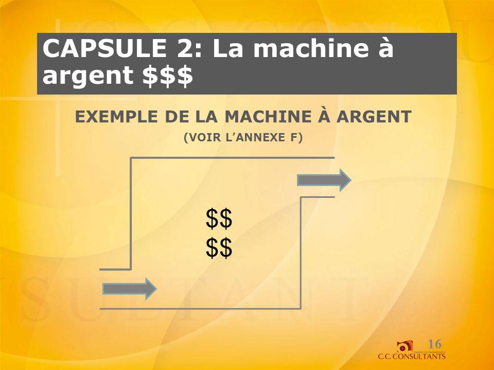 CAPSULE 2: La machine à argent $$$ EXEMPLE DE LA MACHINE À ARGENT (VOIR LANNEXE F) 16 $$