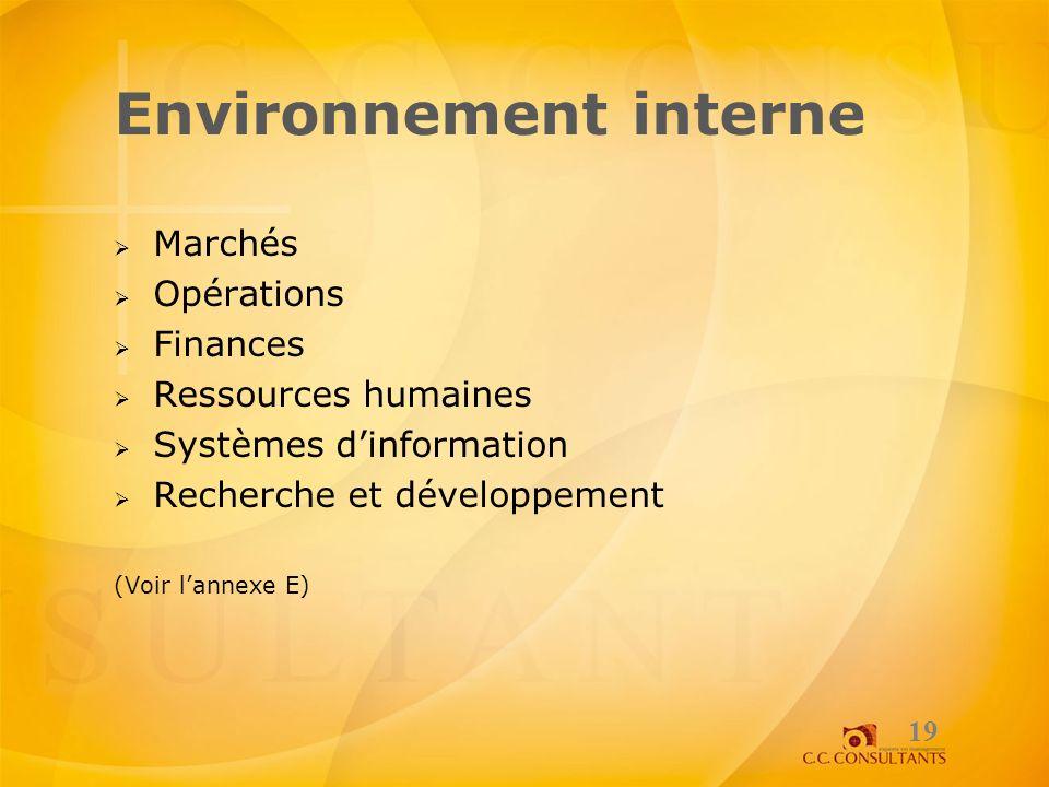 Environnement interne Marchés Opérations Finances Ressources humaines Systèmes dinformation Recherche et développement (Voir lannexe E) 19