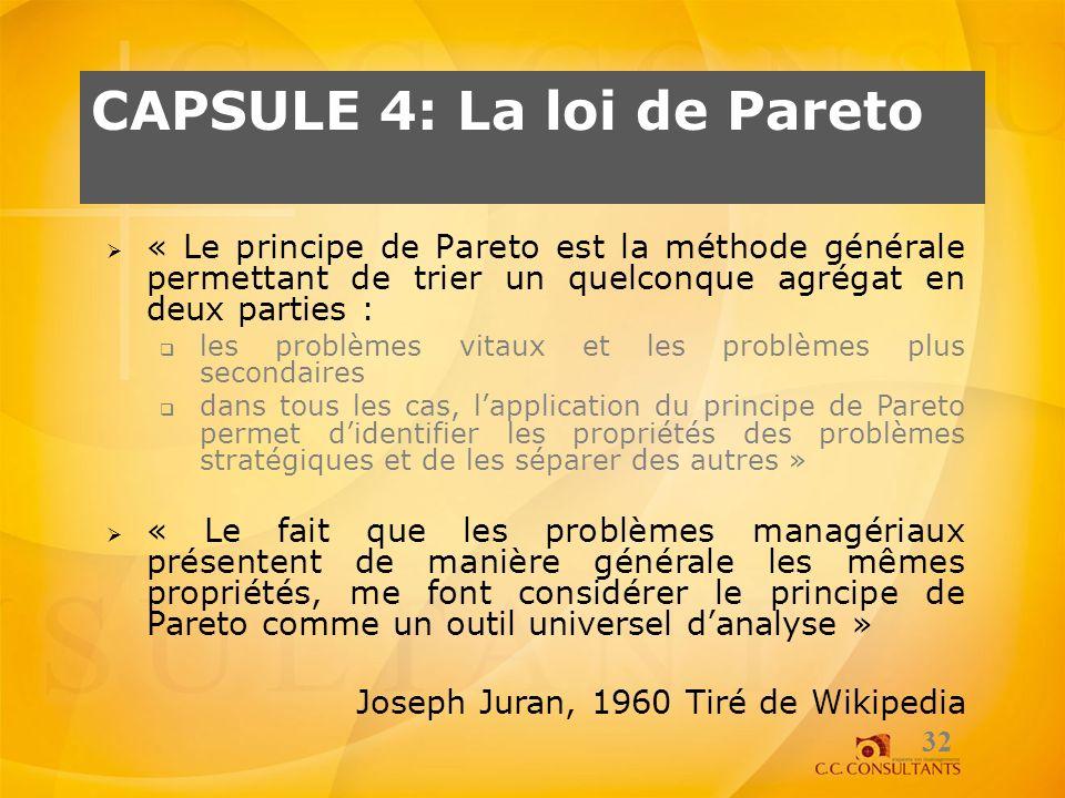 CAPSULE 4: La loi de Pareto 32 « Le principe de Pareto est la méthode générale permettant de trier un quelconque agrégat en deux parties : les problèm