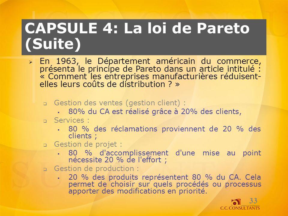 CAPSULE 4: La loi de Pareto (Suite) 33 En 1963, le Département américain du commerce, présenta le principe de Pareto dans un article intitulé : « Comm