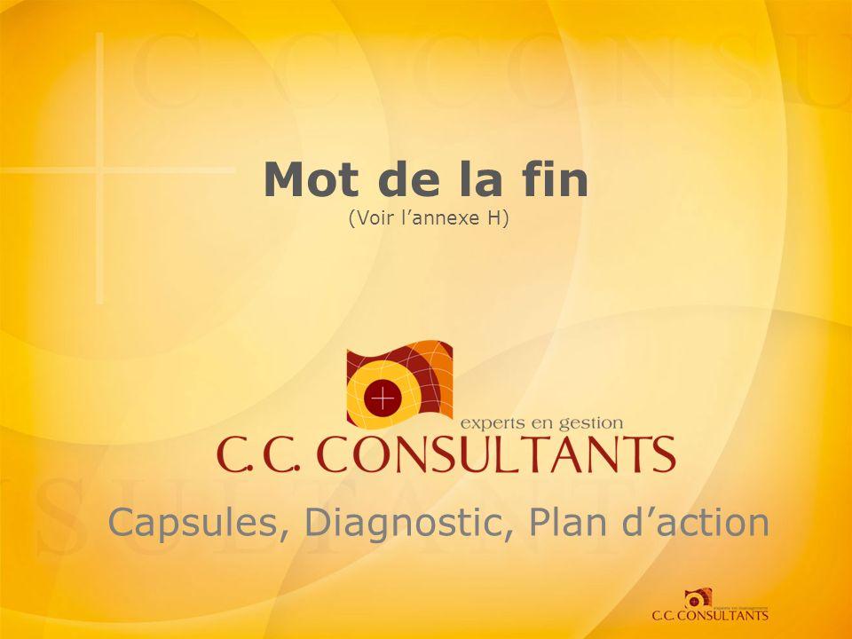 Mot de la fin (Voir lannexe H) Capsules, Diagnostic, Plan daction