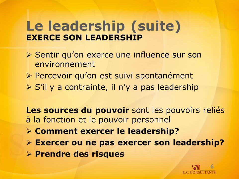 Le leadership (suite) EXERCE SON LEADERSHIP Sentir quon exerce une influence sur son environnement Percevoir quon est suivi spontanément Sil y a contr