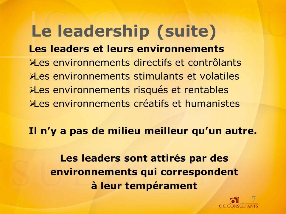 Le leadership (suite) Les leaders et leurs environnements Les environnements directifs et contrôlants Les environnements stimulants et volatiles Les e