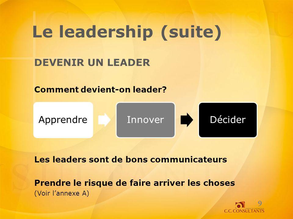 Le leadership (suite) DEVENIR UN LEADER Comment devient-on leader? Les leaders sont de bons communicateurs Prendre le risque de faire arriver les chos