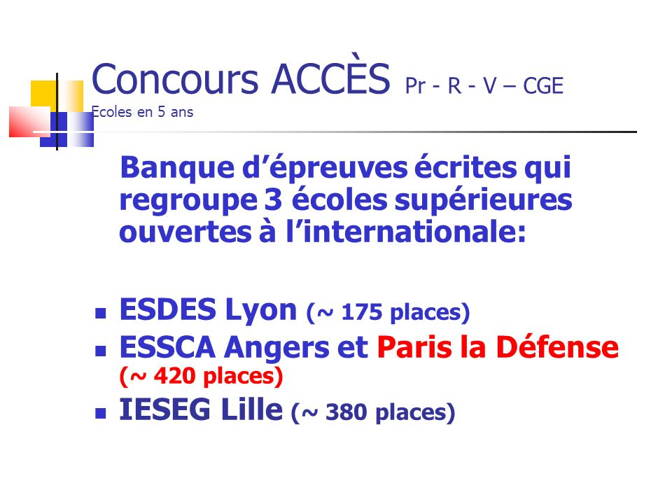 Concours ACCÈS Pr - R - V – CGE Ecoles en 5 ans Banque dépreuves écrites qui regroupe 3 écoles supérieures ouvertes à linternationale: ESDES Lyon (~ 175 places) ESSCA Angers et Paris la Défense (~ 420 places) IESEG Lille (~ 380 places)