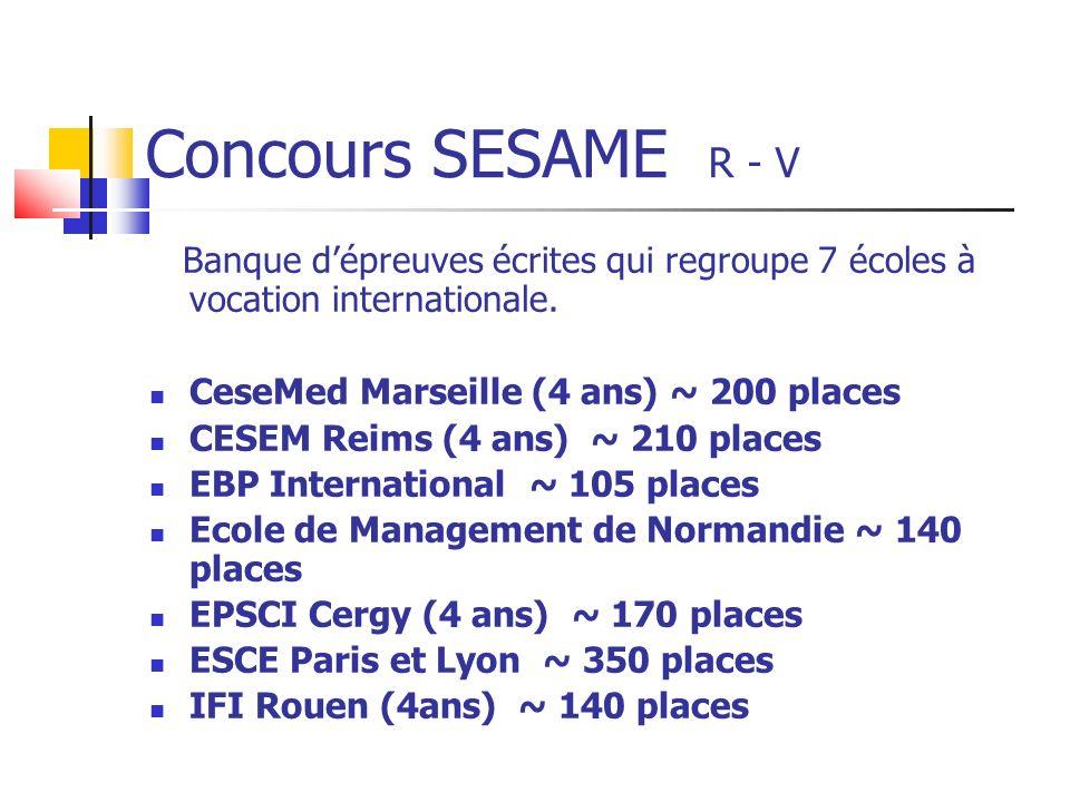 Concours SESAME R - V Banque dépreuves écrites qui regroupe 7 écoles à vocation internationale.