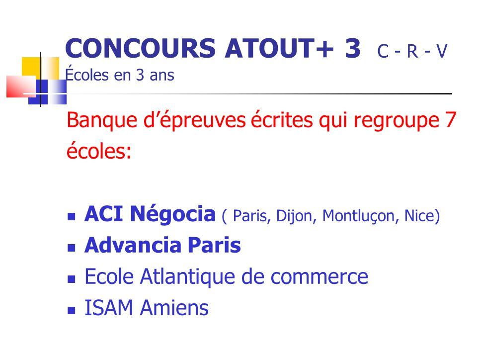 CONCOURS ATOUT+ 3 C - R - V Écoles en 3 ans Banque dépreuves écrites qui regroupe 7 écoles: ACI Négocia ( Paris, Dijon, Montluçon, Nice) Advancia Paris Ecole Atlantique de commerce ISAM Amiens