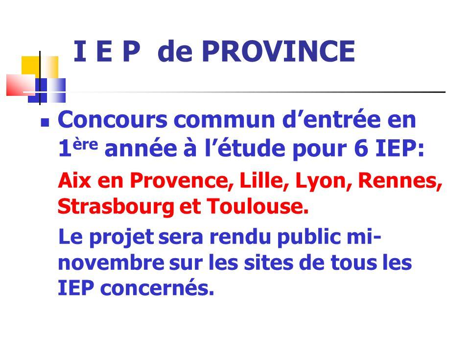 I E P de PROVINCE Concours commun dentrée en 1 ère année à létude pour 6 IEP: Aix en Provence, Lille, Lyon, Rennes, Strasbourg et Toulouse.