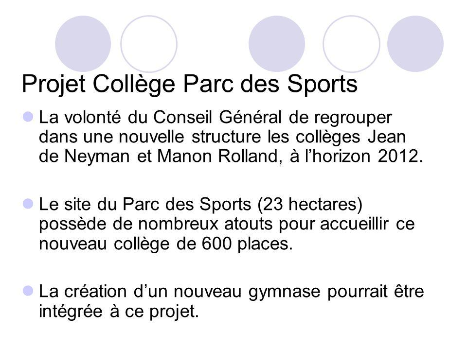 Projet Collège Parc des Sports La volonté du Conseil Général de regrouper dans une nouvelle structure les collèges Jean de Neyman et Manon Rolland, à lhorizon 2012.