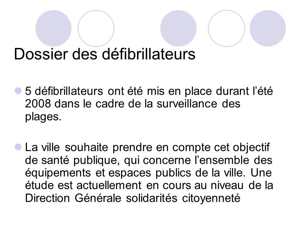 Dossier des défibrillateurs 5 défibrillateurs ont été mis en place durant lété 2008 dans le cadre de la surveillance des plages.