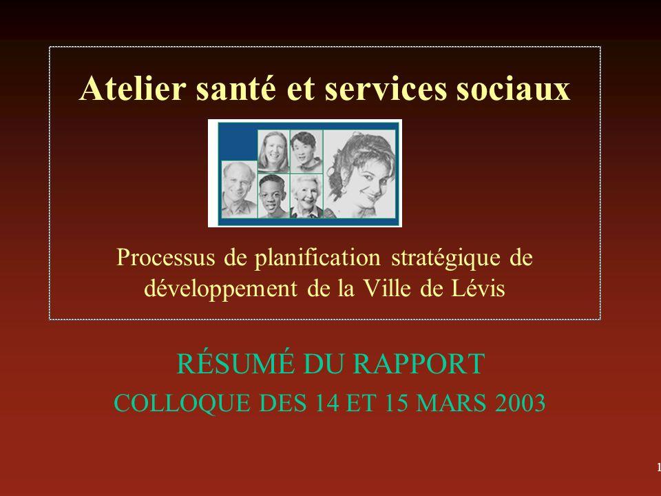 1 Atelier santé et services sociaux Processus de planification stratégique de développement de la Ville de Lévis RÉSUMÉ DU RAPPORT COLLOQUE DES 14 ET 15 MARS 2003