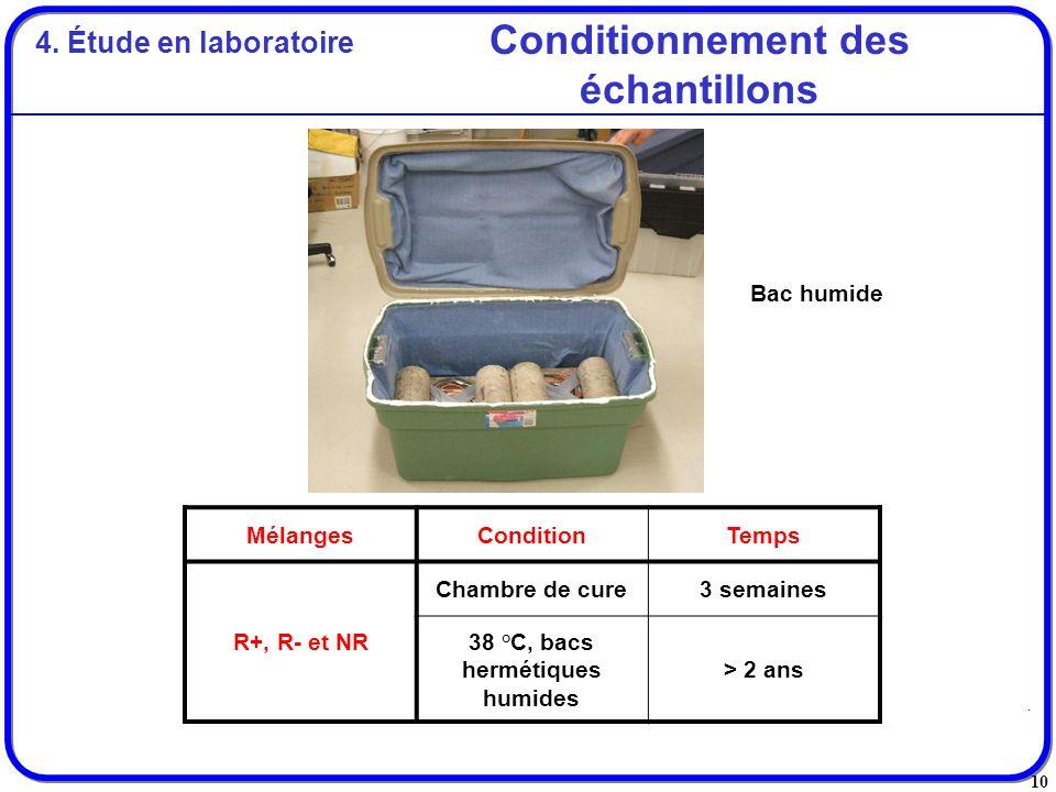 10 Conditionnement des échantillons MélangesConditionTemps R+, R- et NR Chambre de cure3 semaines 38 °C, bacs hermétiques humides > 2 ans Bac humide 4