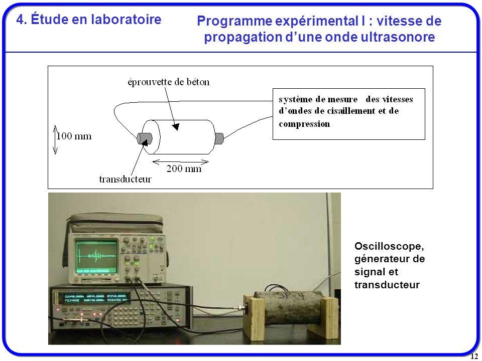 12 Programme expérimental I : vitesse de propagation dune onde ultrasonore Oscilloscope, génerateur de signal et transducteur 4. Étude en laboratoire