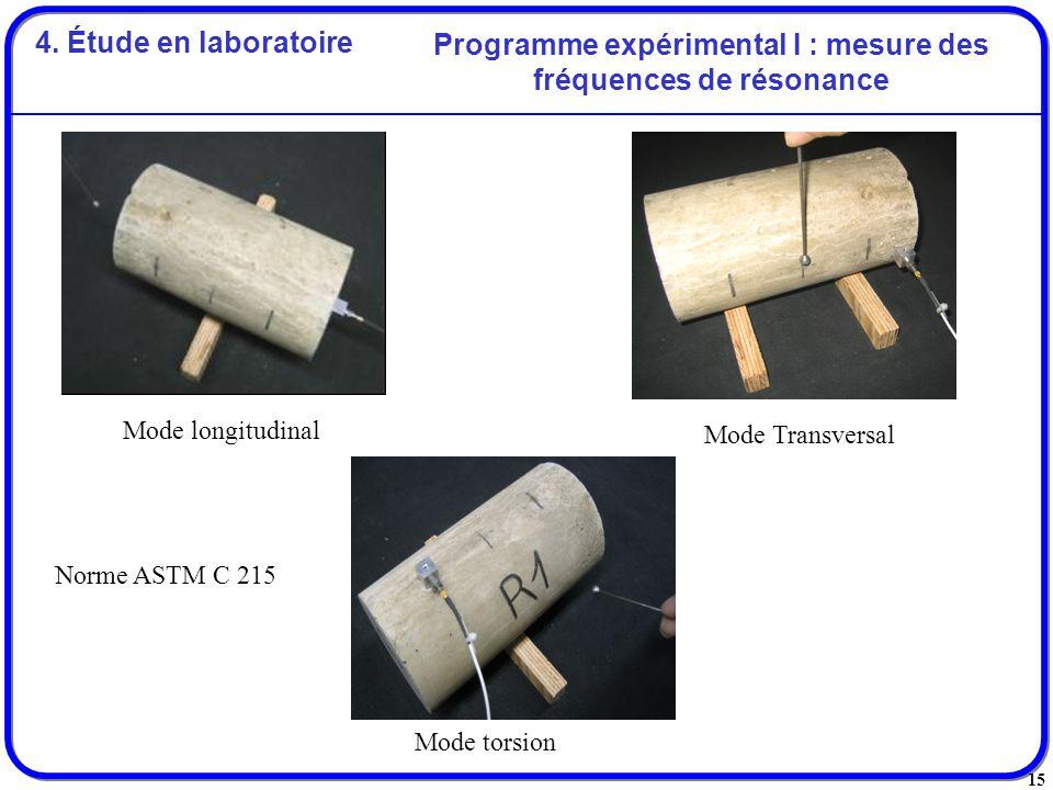 15 Programme expérimental I : mesure des fréquences de résonance Mode longitudinal Mode Transversal Mode torsion Norme ASTM C 215 4. Étude en laborato