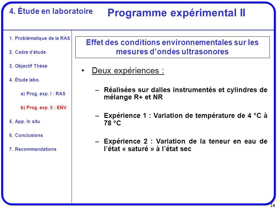 24 Deux expériences : –Réalisées sur dalles instrumentés et cylindres de mélange R+ et NR –Expérience 1 : Variation de température de 4 °C à 78 °C –Ex