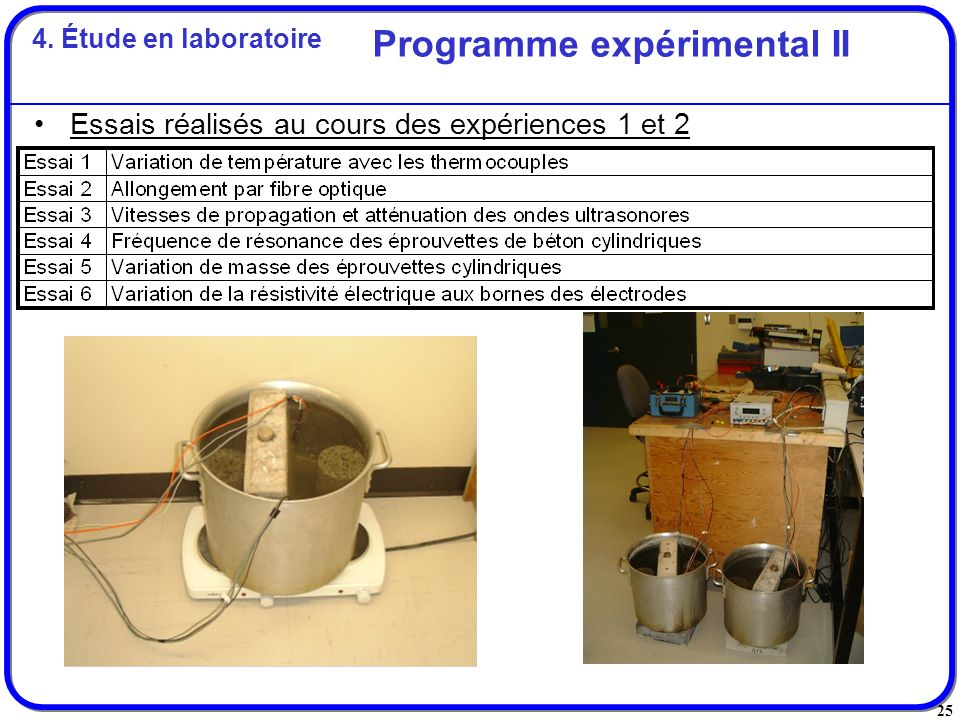25 Essais réalisés au cours des expériences 1 et 2 Programme expérimental II 4. Étude en laboratoire