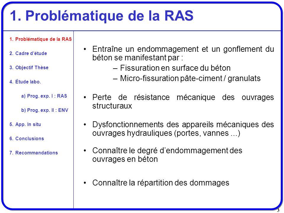 3 1. Problématique de la RAS Entraîne un endommagement et un gonflement du béton se manifestant par : –Fissuration en surface du béton –Micro-fissurat