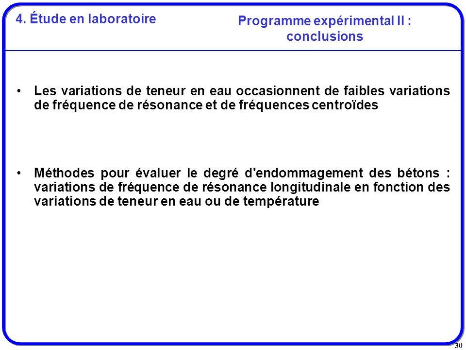 30 Les variations de teneur en eau occasionnent de faibles variations de fréquence de résonance et de fréquences centroïdes Méthodes pour évaluer le d