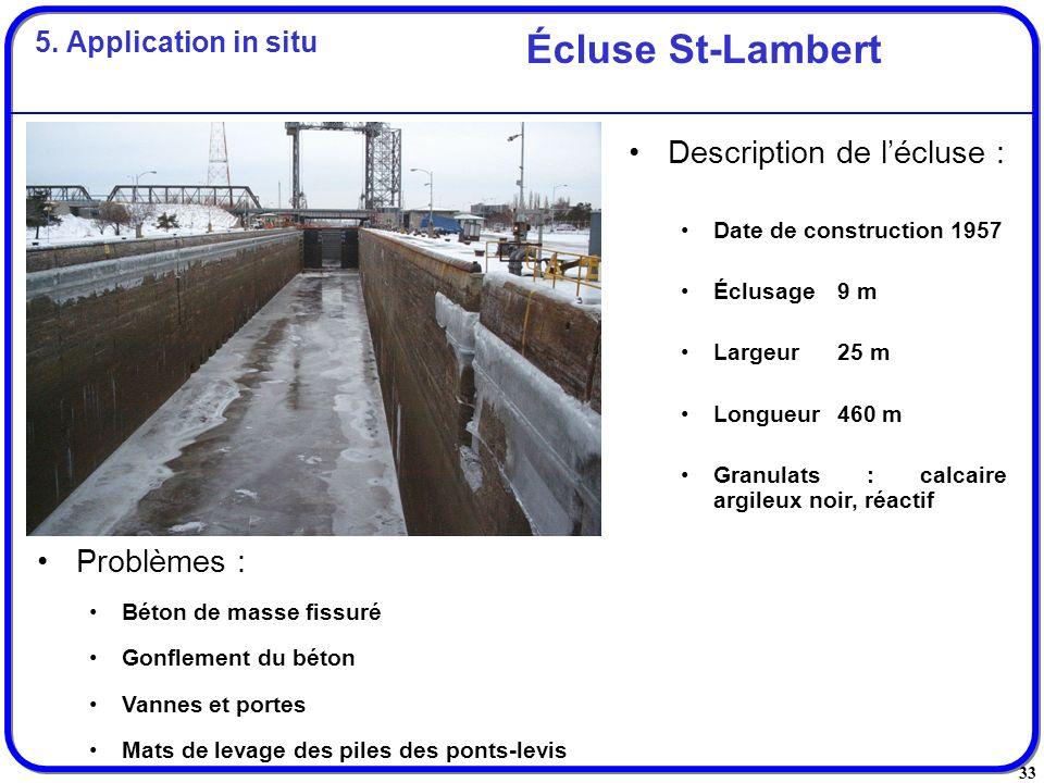 33 Problèmes : Béton de masse fissuré Gonflement du béton Vannes et portes Mats de levage des piles des ponts-levis Écluse St-Lambert Description de l