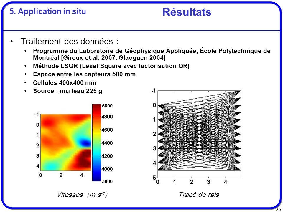 36 Résultats Vitesses (m.s -1 ) Tracé de rais Traitement des données : Programme du Laboratoire de Géophysique Appliquée, École Polytechnique de Montr