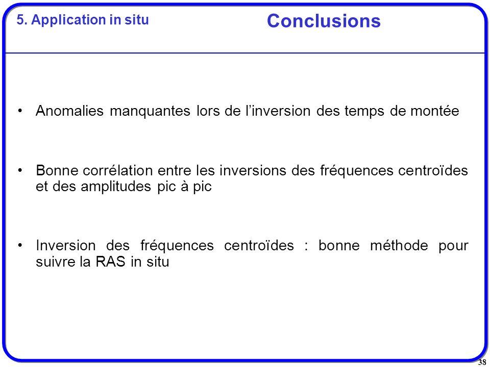 38 Anomalies manquantes lors de linversion des temps de montée Bonne corrélation entre les inversions des fréquences centroïdes et des amplitudes pic