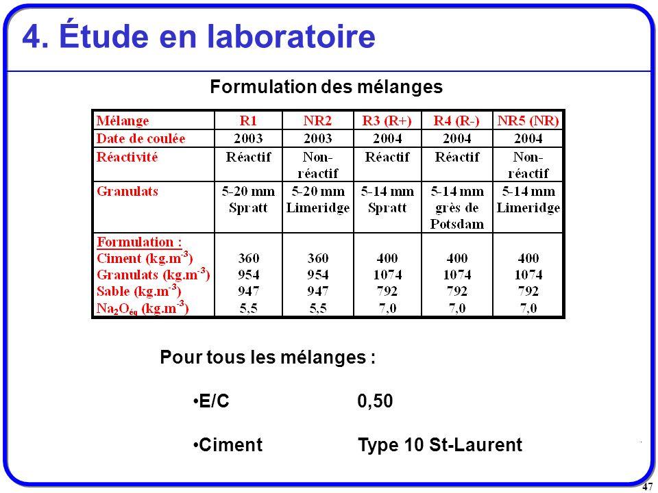 47 Formulation des mélanges 4. Étude en laboratoire Pour tous les mélanges : E/C0,50 CimentType 10 St-Laurent