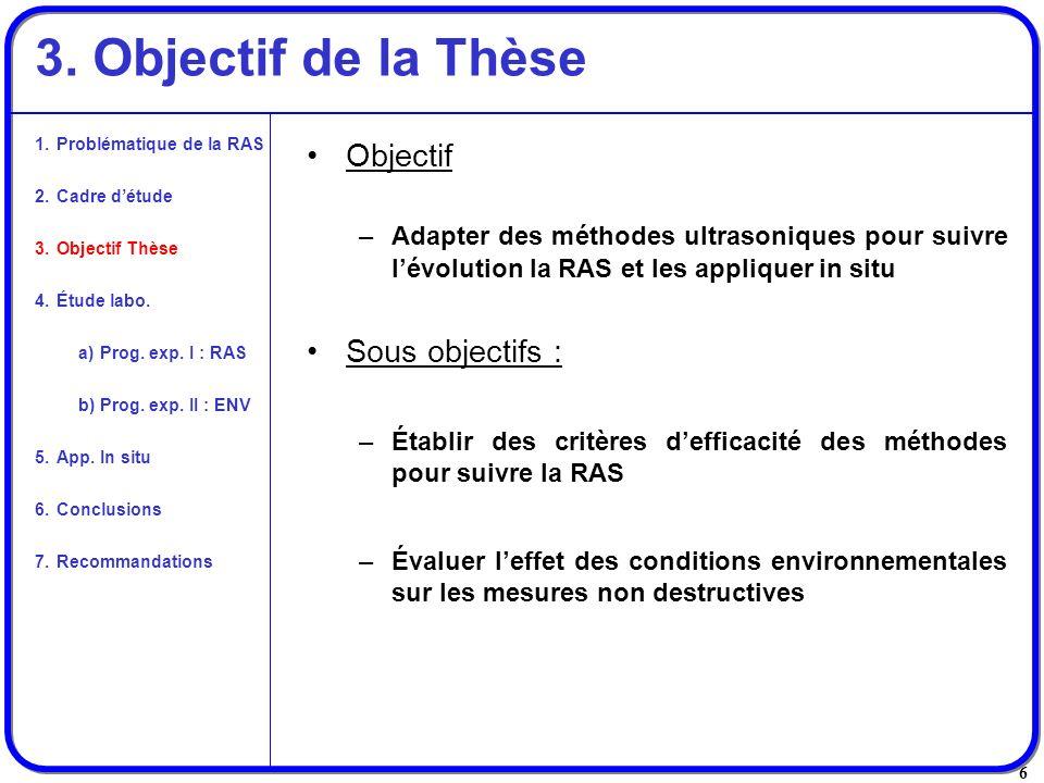 6 3. Objectif de la Thèse Objectif –Adapter des méthodes ultrasoniques pour suivre lévolution la RAS et les appliquer in situ Sous objectifs : –Établi