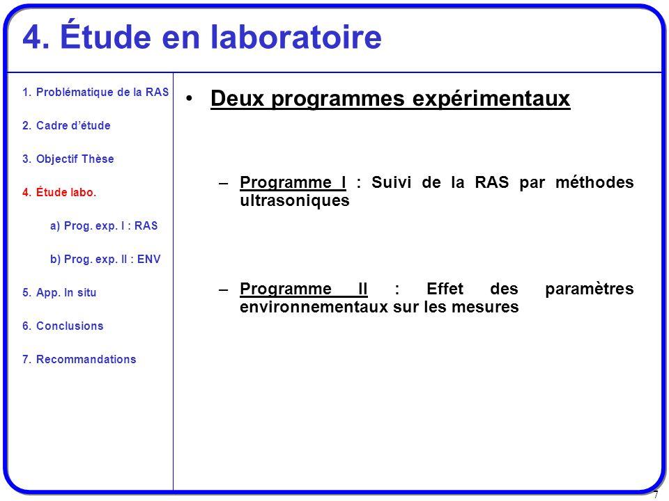 7 4. Étude en laboratoire Deux programmes expérimentaux –Programme I : Suivi de la RAS par méthodes ultrasoniques –Programme II : Effet des paramètres