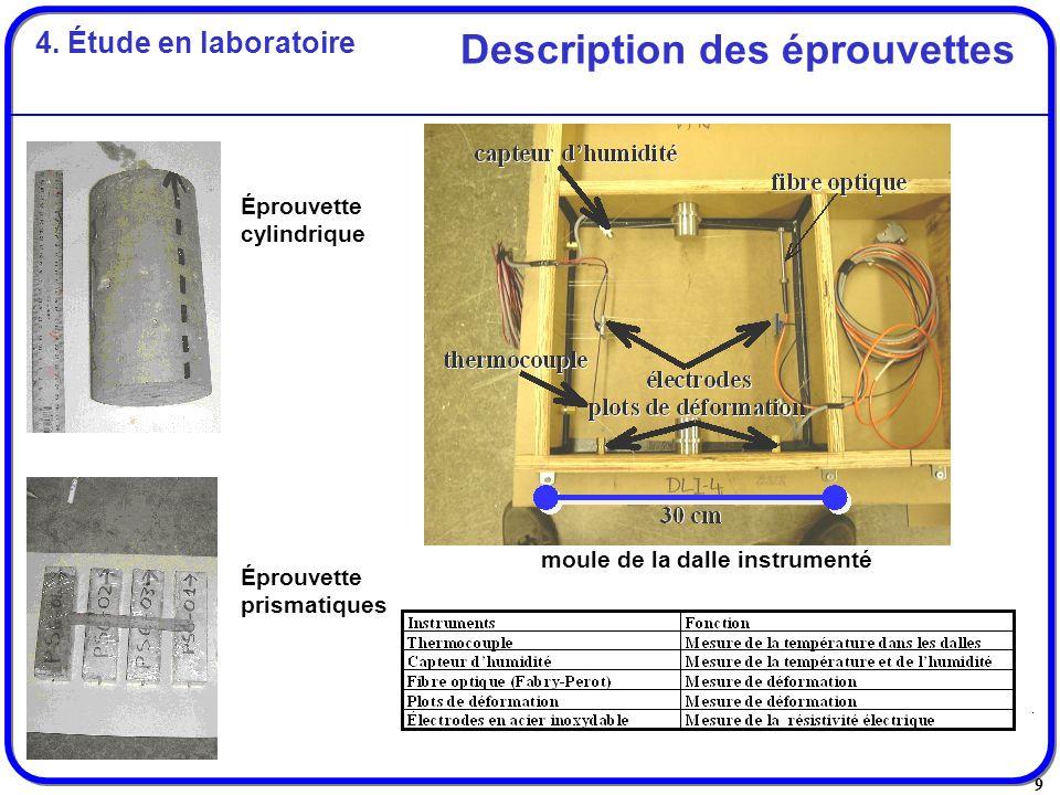 9 Description des éprouvettes Éprouvette cylindrique Éprouvette prismatiques moule de la dalle instrumenté 4. Étude en laboratoire