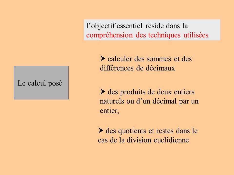 Le calcul posé lobjectif essentiel réside dans la compréhension des techniques utilisées calculer des sommes et des différences de décimaux des produi