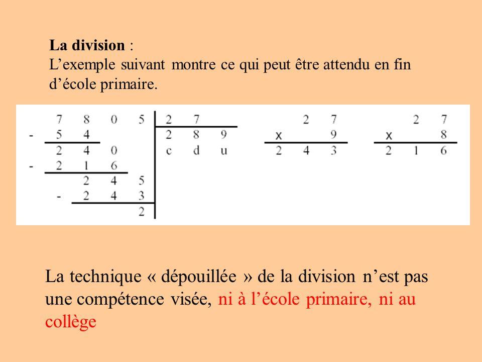 La division : Lexemple suivant montre ce qui peut être attendu en fin décole primaire. La technique « dépouillée » de la division nest pas une compéte