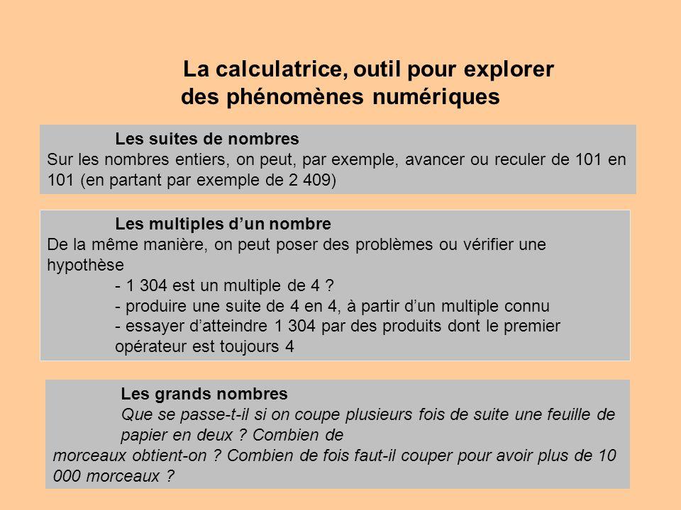 La calculatrice, outil pour explorer des phénomènes numériques Les suites de nombres Sur les nombres entiers, on peut, par exemple, avancer ou reculer