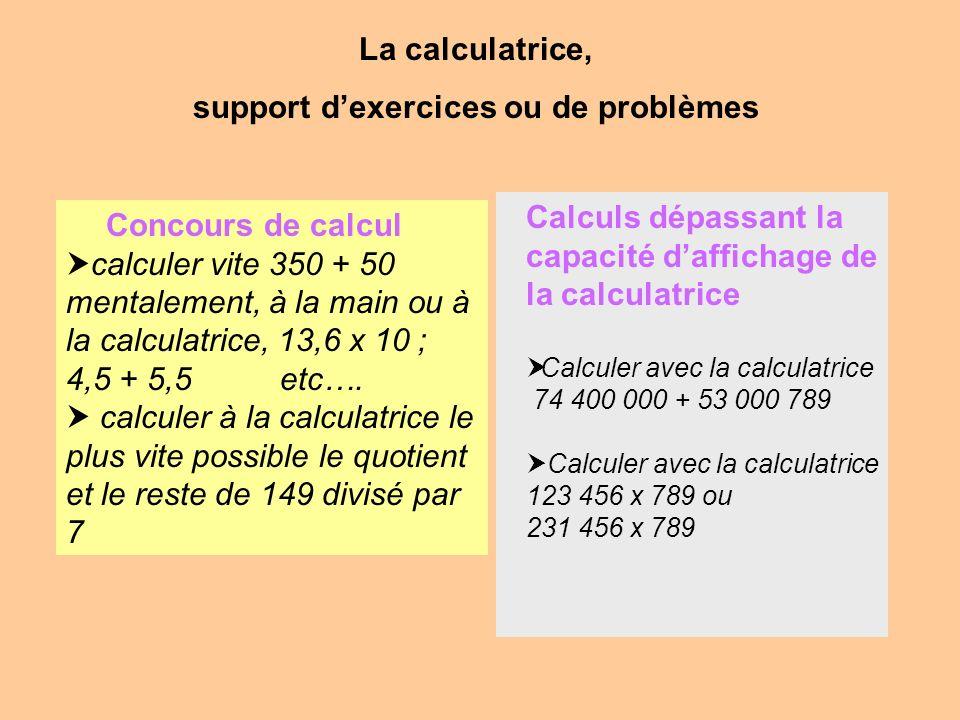 La calculatrice, support dexercices ou de problèmes Concours de calcul calculer vite 350 + 50 mentalement, à la main ou à la calculatrice, 13,6 x 10 ;