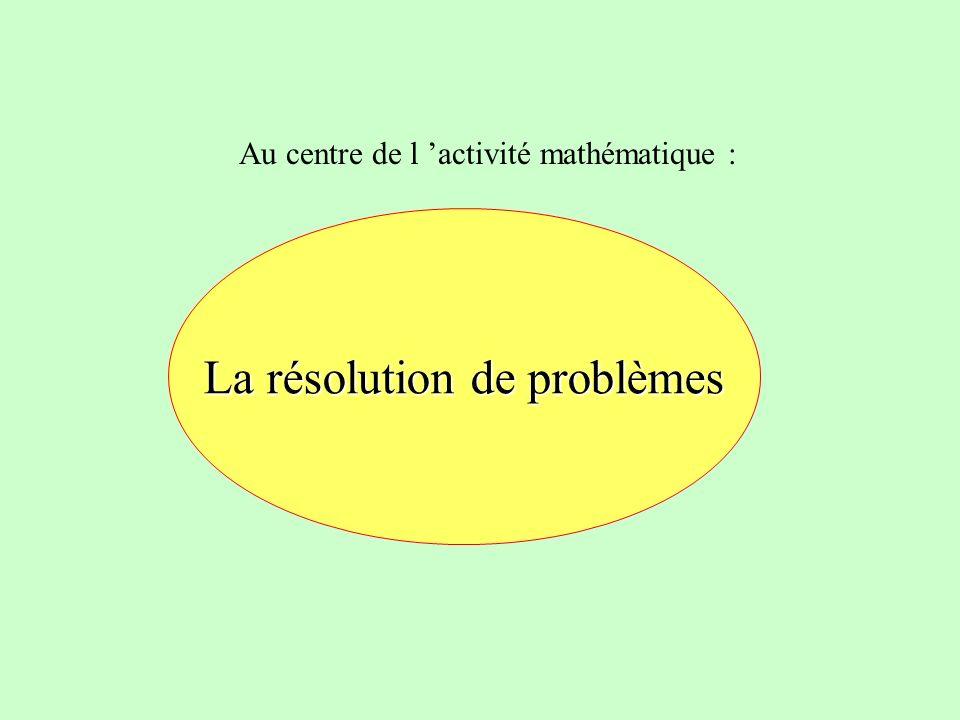 Au centre de l activité mathématique : La résolution de problèmes