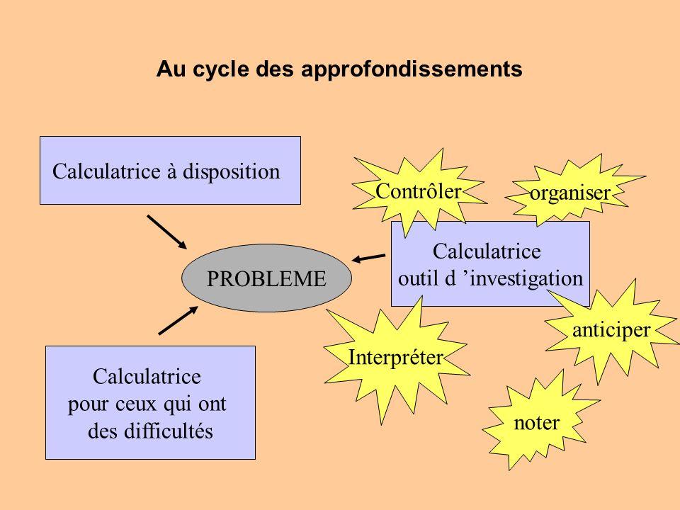 Au cycle des approfondissements PROBLEME Calculatrice à disposition Calculatrice pour ceux qui ont des difficultés Calculatrice outil d investigation