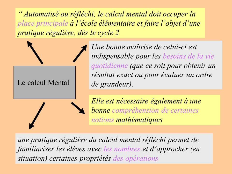 Le calcul Mental Automatisé ou réfléchi, le calcul mental doit occuper la place principale à lécole élémentaire et faire lobjet dune pratique régulièr