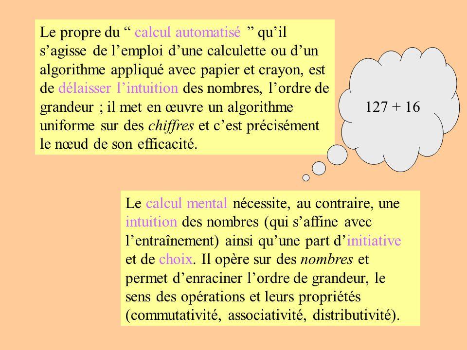 Le propre du calcul automatisé quil sagisse de lemploi dune calculette ou dun algorithme appliqué avec papier et crayon, est de délaisser lintuition d