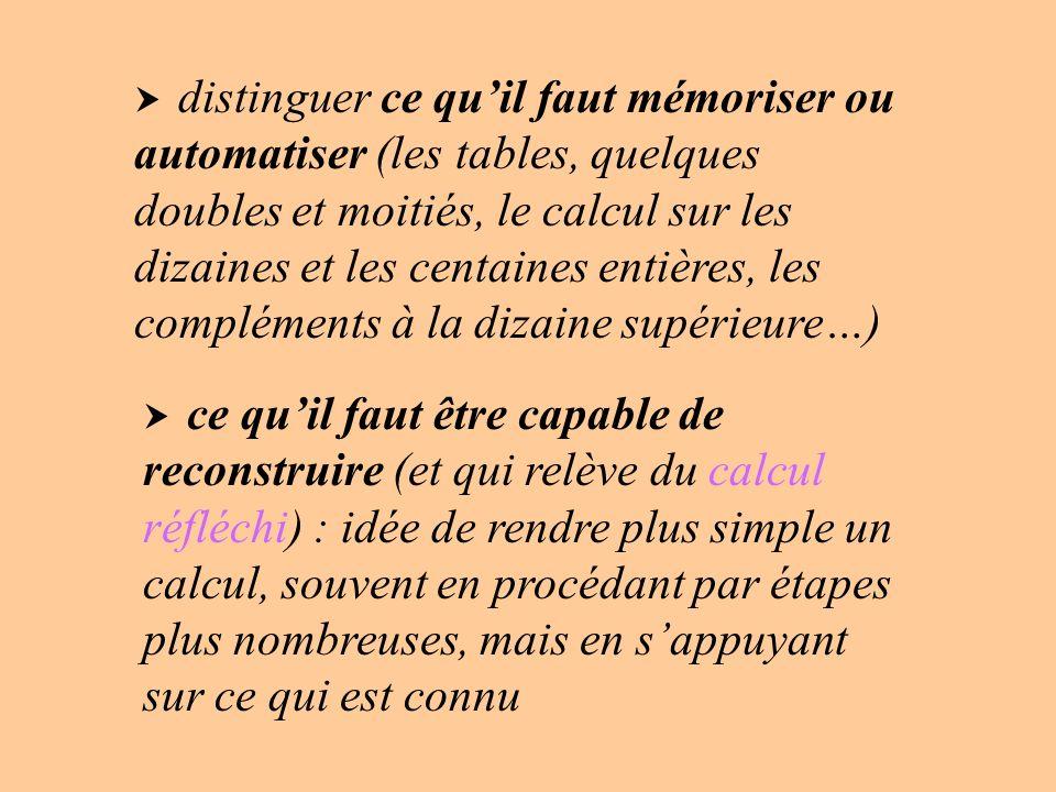 distinguer ce quil faut mémoriser ou automatiser (les tables, quelques doubles et moitiés, le calcul sur les dizaines et les centaines entières, les c
