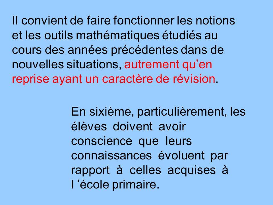 Il convient de faire fonctionner les notions et les outils mathématiques étudiés au cours des années précédentes dans de nouvelles situations, autreme