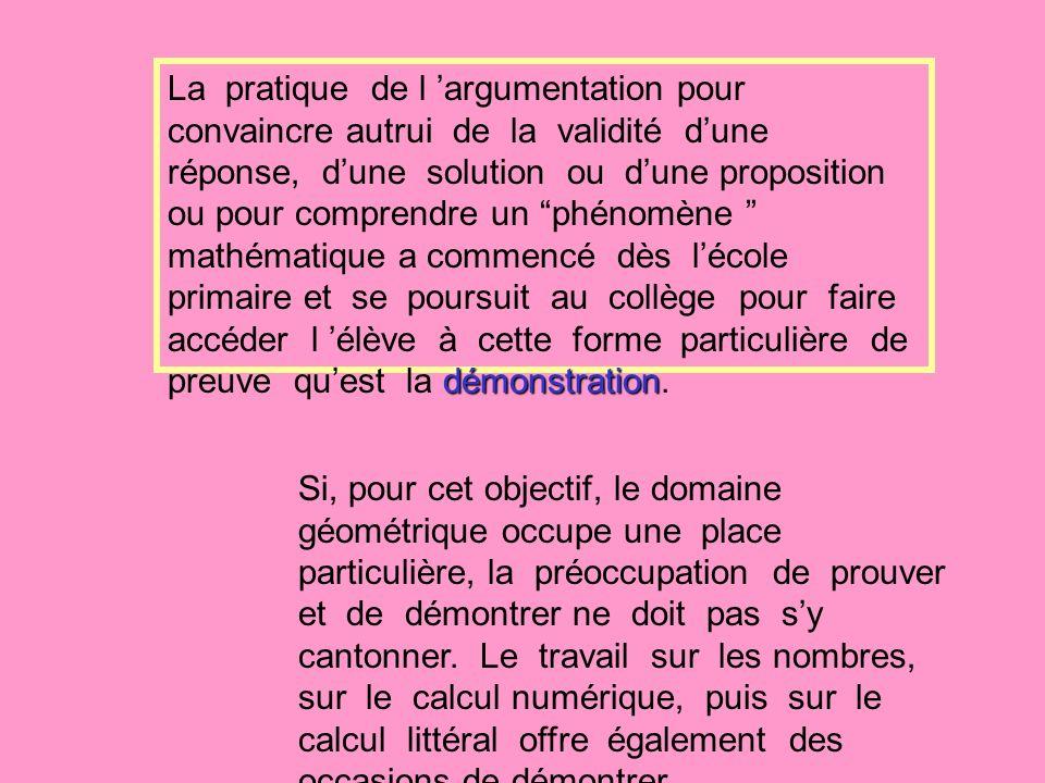 démonstration La pratique de l argumentation pour convaincre autrui de la validité dune réponse, dune solution ou dune proposition ou pour comprendre