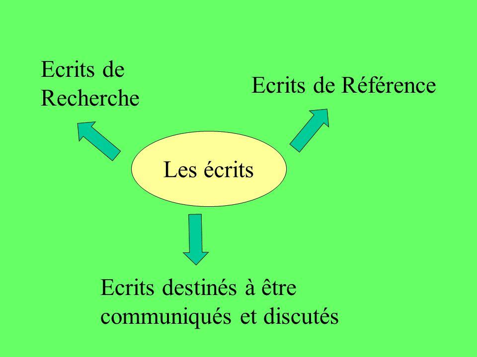 Les écrits Ecrits de Recherche Ecrits de Référence Ecrits destinés à être communiqués et discutés