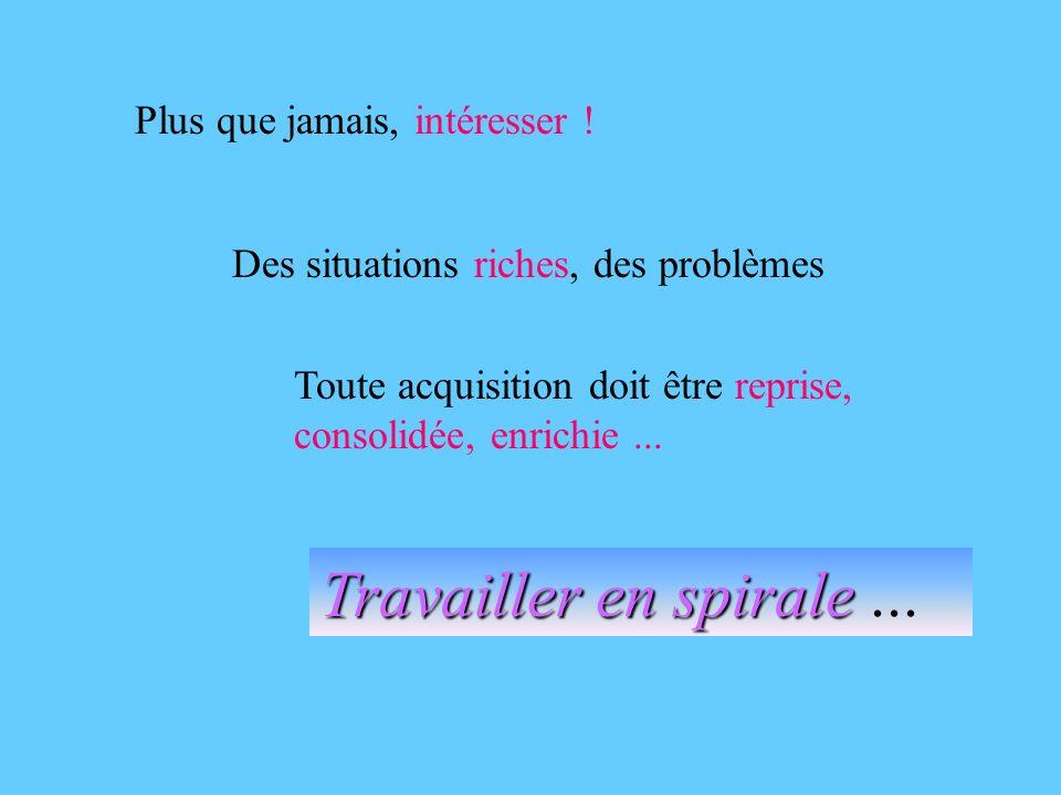 Plus que jamais, intéresser ! Des situations riches, des problèmes Toute acquisition doit être reprise, consolidée, enrichie... Travailler en spirale