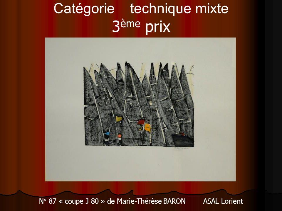 Catégorie technique mixte 3 ème prix N° 87 « coupe J 80 » de Marie-Thérèse BARON ASAL Lorient